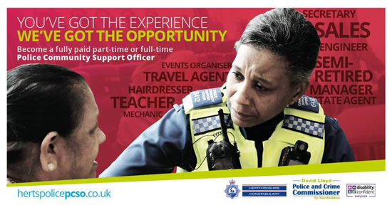 Herts PCSO recruitment material