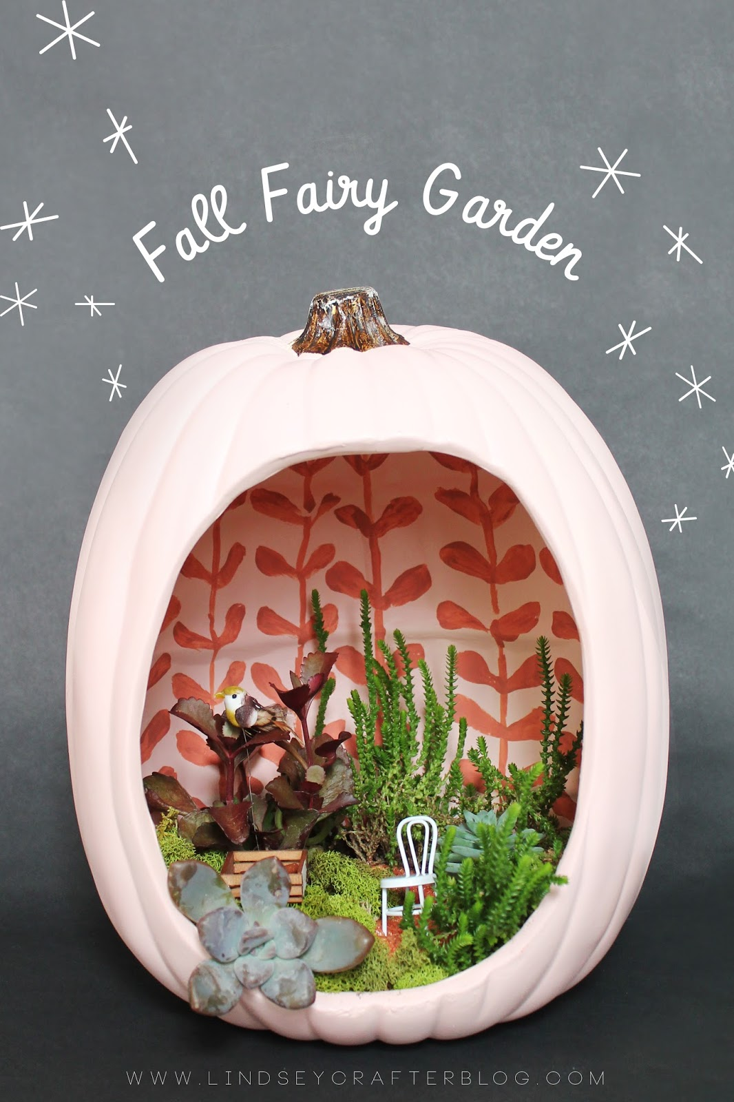 Make a Fall Fairy Garden in a Faux Pumpkin