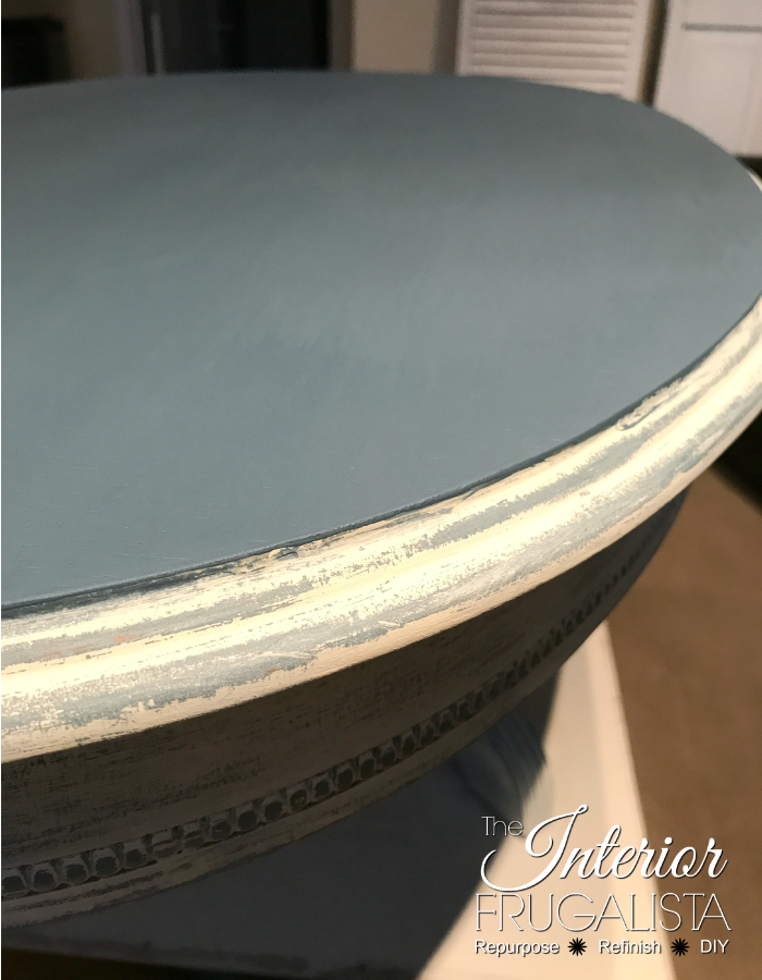 Oval Coffee Table Top Painted Blue