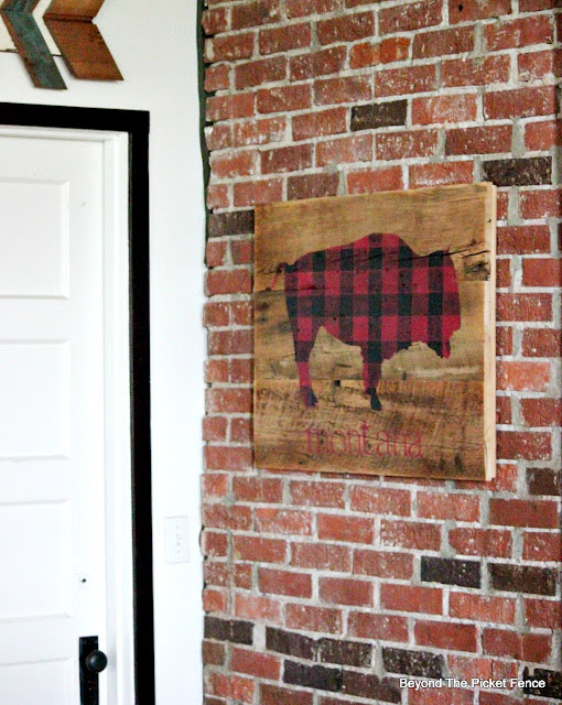 a rustic buffalo checked  barnwood sign