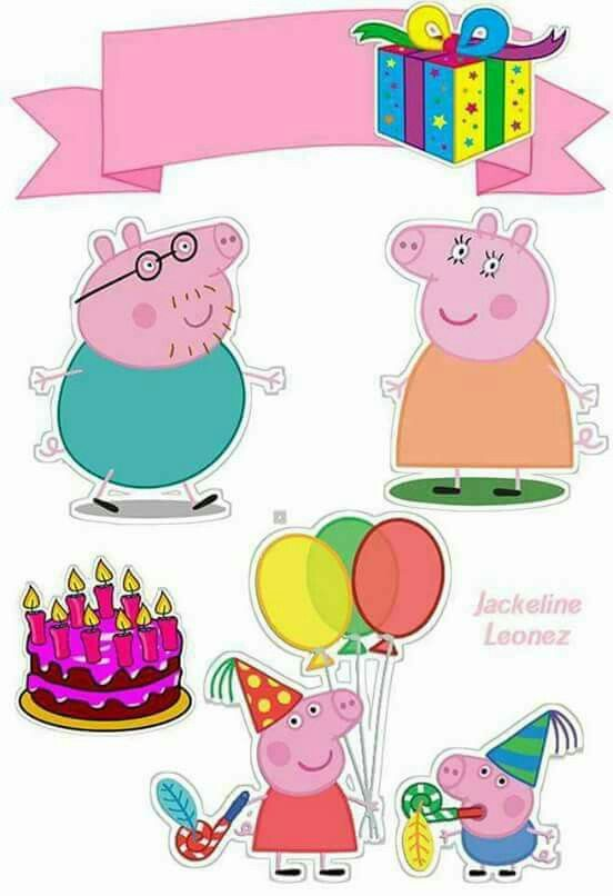 Peppa Pig Birthday Free Printable Cake Toppers. - Oh My Fiesta! In English