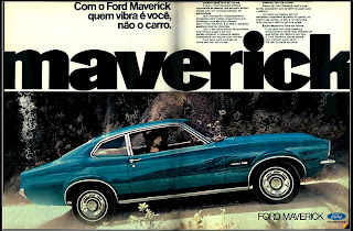 propaganda Ford Maverick - 1973.  1973. brazilian advertising cars in the 70. os anos 70. história da década de 70; Brazil in the 70s; propaganda carros anos 70; Oswaldo Hernandez;