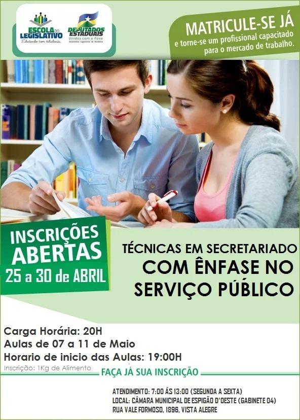 Inscrições abertas para curso de secretariado oferecido pela Escola do Legislativo