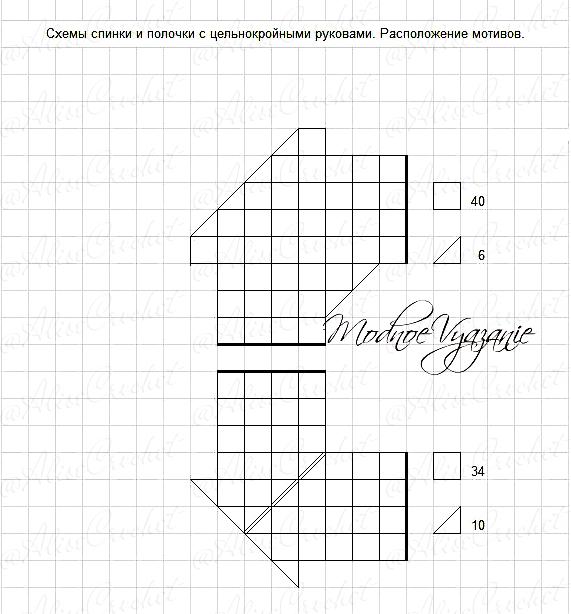 Схема спинки и полочки с руковами