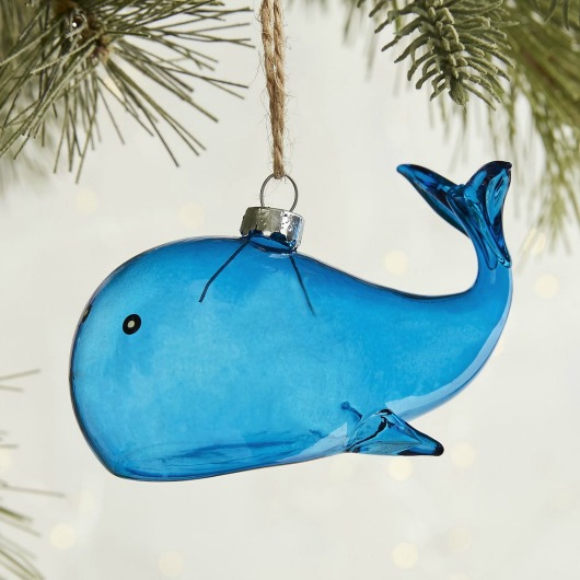 Blue Whale Glass Ornament
