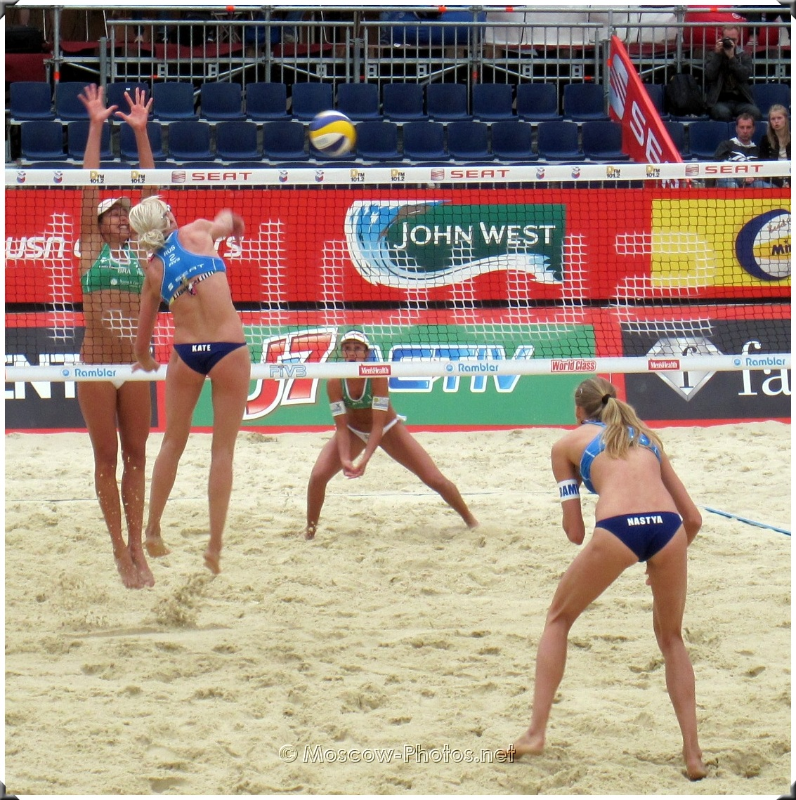 Attack of Russian Beach Volleyball Team