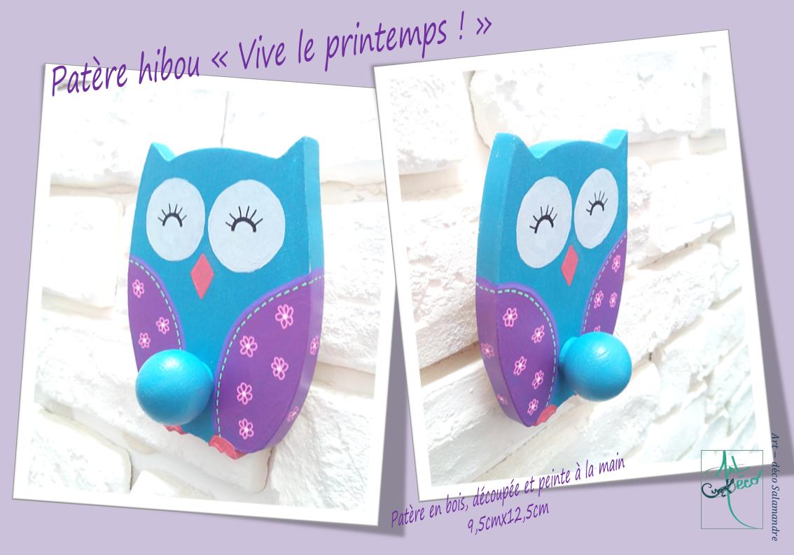 patère en bois hibou chouette à fleurs bleu canard violet rose art-deco_salamandre