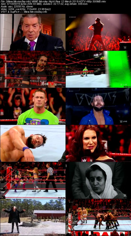 Screen Shoot of WWE Monday Night Raw 12 March 2018 480p HDTV 550MB