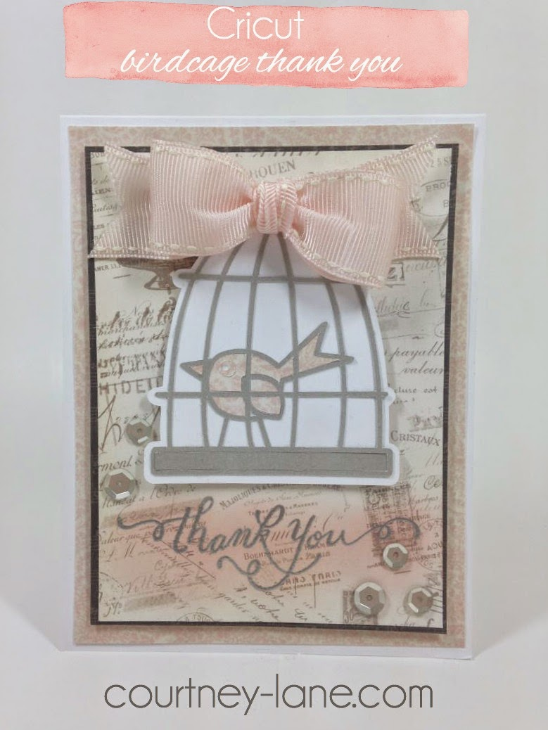 Cricut Birdcage thank you card