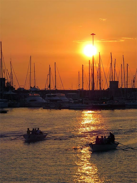 Sunset from the swing bridge, port of Livorno