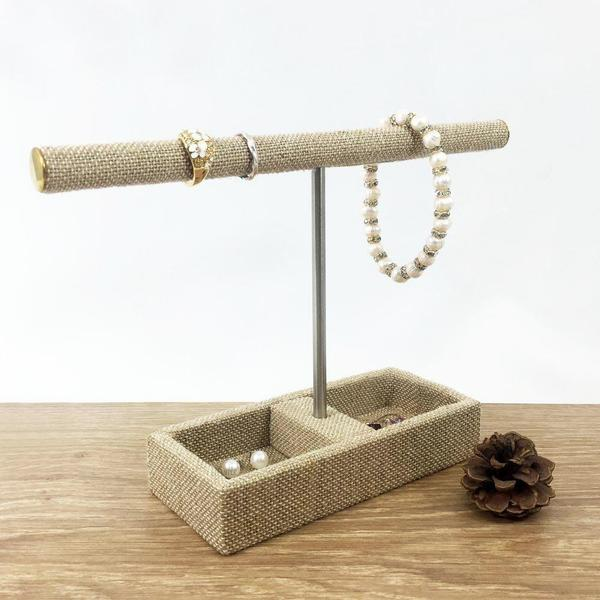 Shop Wholesale Linen Covered Jewelry Holder T-Bar Stand with 2 Compartments at Nile Corp