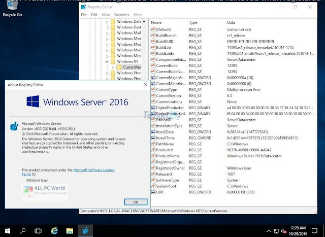 Registri Windows Server 2016