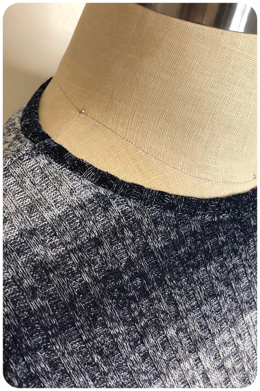 bc19a9b85 And here is a close up my neck line finish. For this project, I used my  walking foot. I find that's the easiest way to keep sweater knits from  stretching.