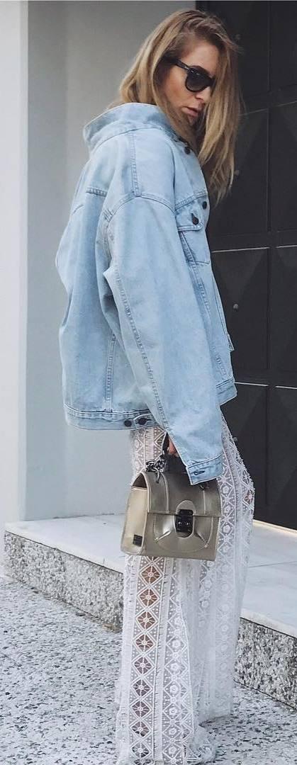 fashionable outfit / denim jacket + bag + lacer pants