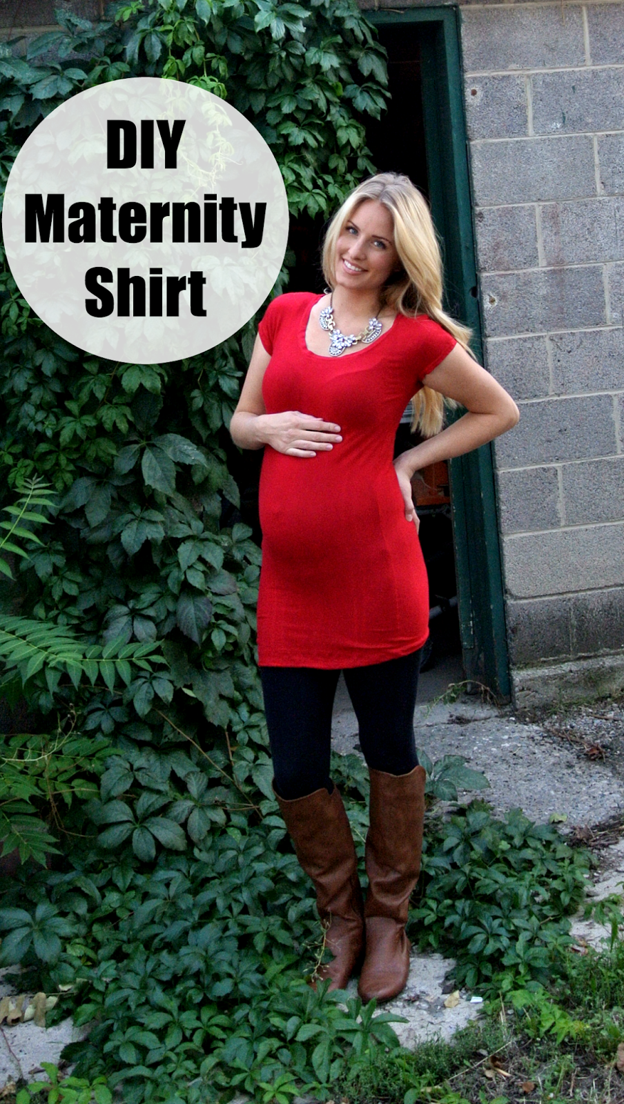 Simple diy maternity top.  She uses an old shirt as a pattern.