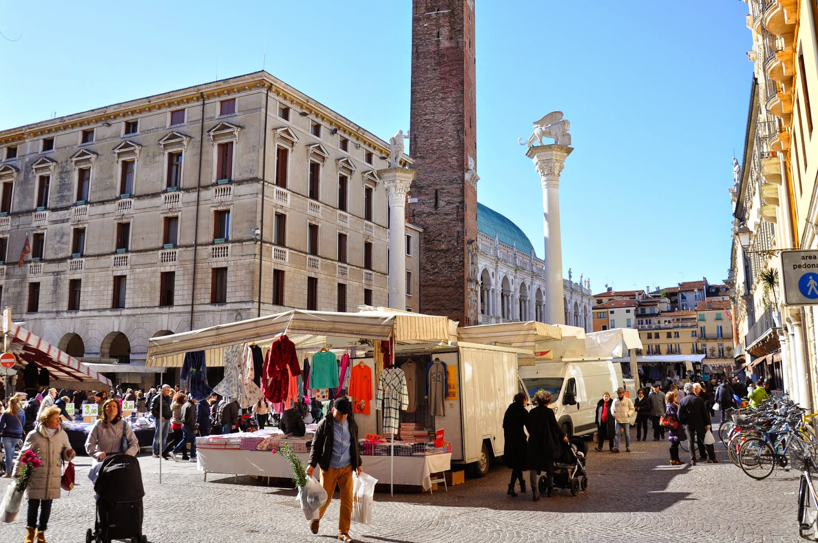 The Thursday market at Piazza dei Signori, Vicenza, Italy