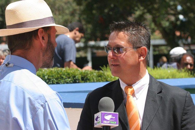 Horse racing trainer Glen Kotzen getting interviewed by Stan Elley on Tellytrack.