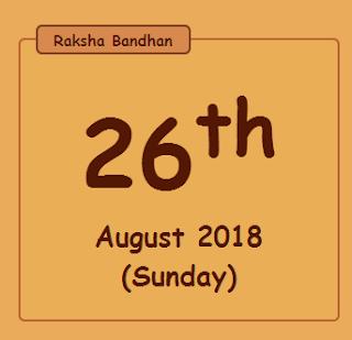 2018 Raksha Bandhan Date time Calendar