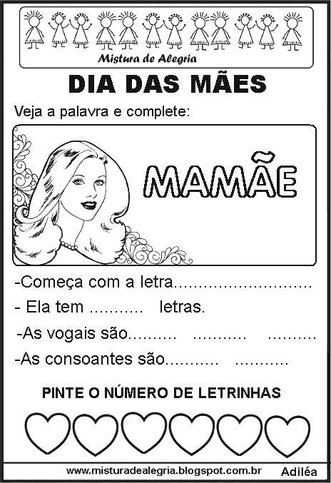 Atividades Para O Dia Das Maes Alfabetizacao Imprimir E Colorir
