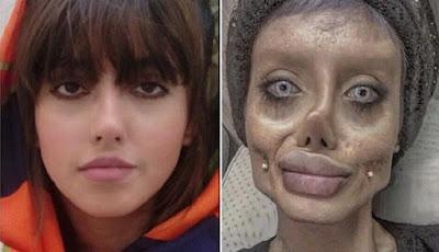 Wajah asli Sahar Tabar (kiri) dna editan mirip Angelina Jolie (kanan)