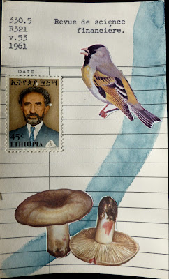 Foucault library card Revue de science financiere bird ethiopia postage stamp mushrooms dada Fluxus collage