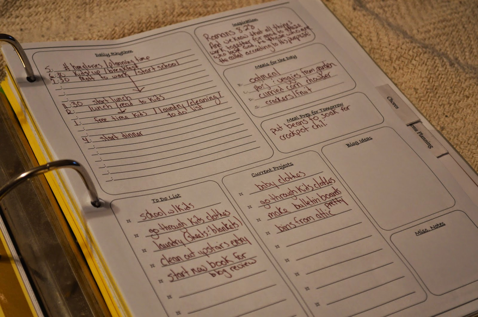 Townsend House Daily Planning Worksheet