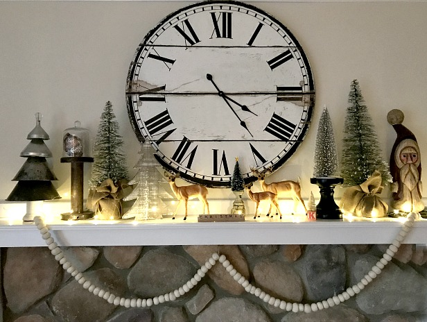 Winter mantel at night with lights