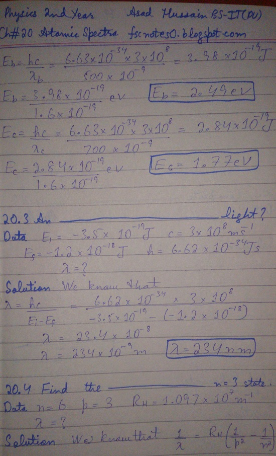 F.Sc ICS Notes: Physics XII: Chapter 20 Atomic Spectra Numerical Problems Asad Hussain 2
