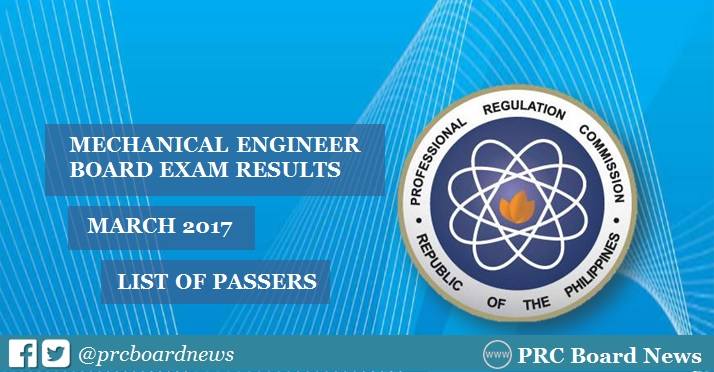 PRC releases March 2017 Mechanical Engineer ME, CPM board exam results