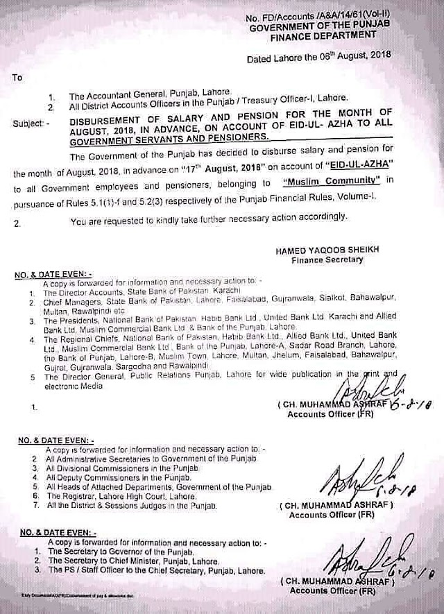 DISBURSEMENT OF SALARY AND PENSION FOR THE MONTH OF AUGUST 2018 IN ADVANCE ON ACCOUNT OF EID UL AZHA TO GOVERNMENT SERVANTS AND PENSIONERS OF PUNJAB