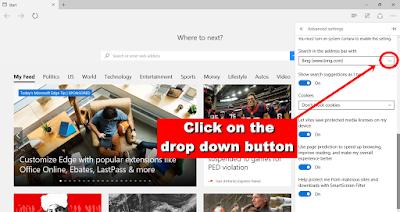 Microsoft Edge - drop button