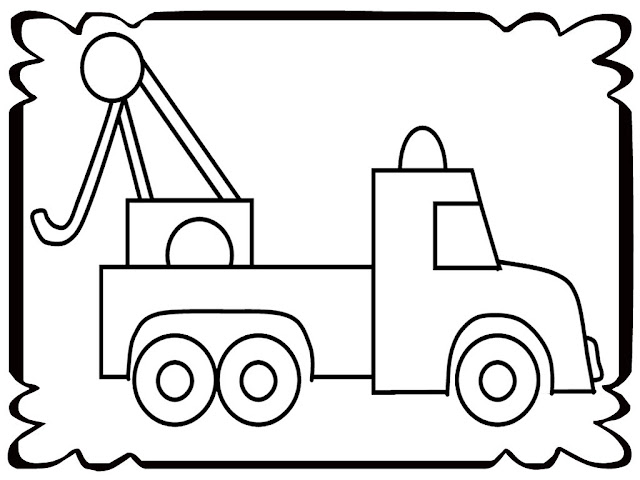 Simple Tow Truck Coloring Pages