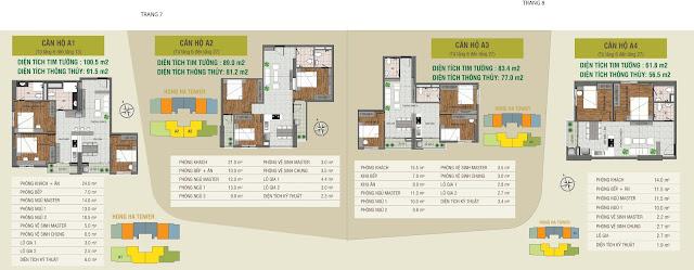 Thiết kế các căn hộ điển hình Hồng Hà Tower