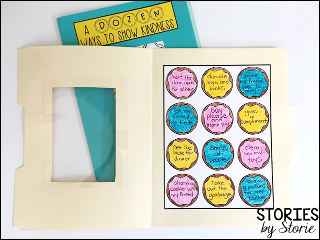 This file folder donut box craft opens up to reveal a dozen ways students can show kindness. Students will write a dozen ways to show kindness on the donuts and then decorate them any way they choose.
