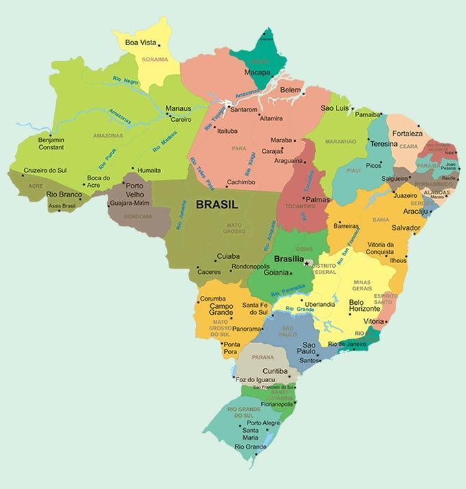 Mapas Del Mundo Mapa Politico De Brasil Con Ciudades