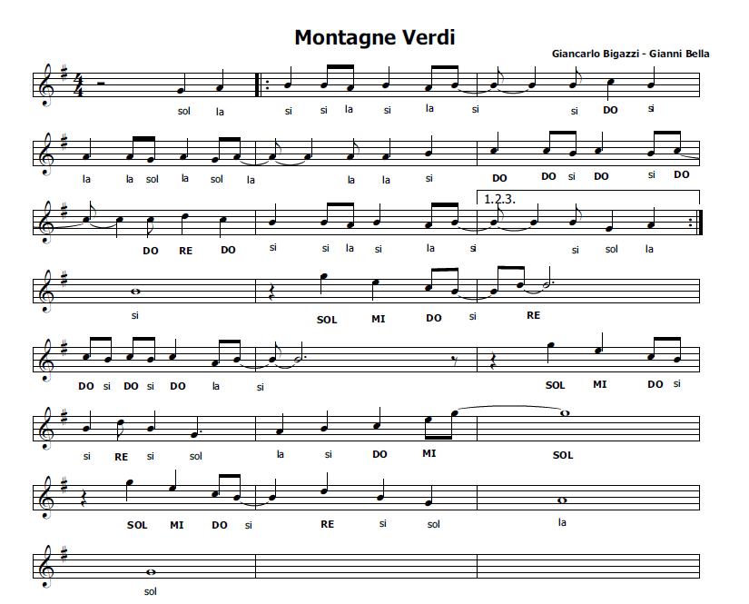 Conosciuto Musica e spartiti gratis per flauto dolce: Montagne Verdi NG15