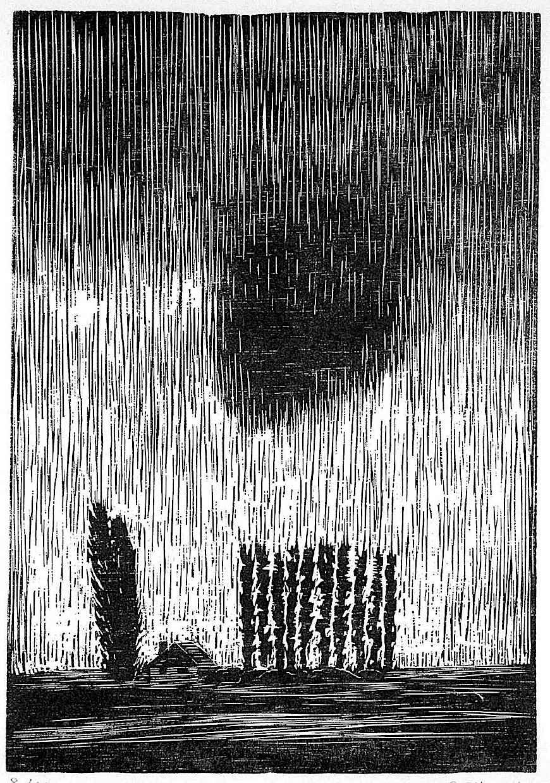 Gerhard Marcks art, rain storm over house