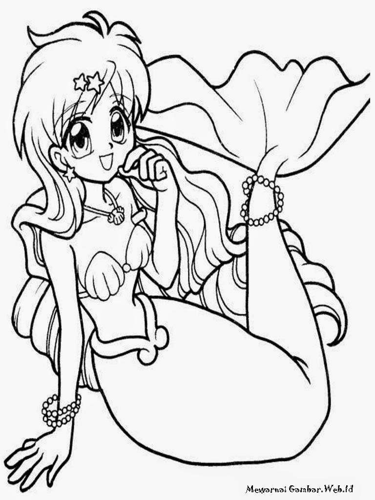 Gambar Mewarnai Putri Duyung ~ Gambar Mewarnai Lucu