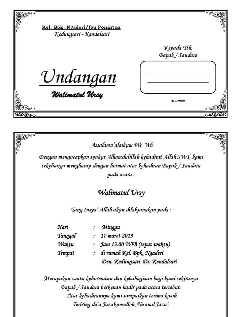 undangan tahlil doc - wood scribd indo