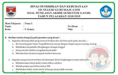 Soal UAS / PAS Kelas 5 Tema 1 Kurikulum 2013 Revisi 2018
