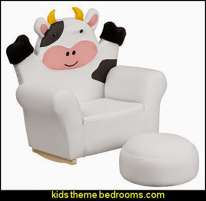 Kids Cow Rocker Chair and Footrest   Farm theme bedroom decorating ideas - horse theme bedroom decorating ideas - girls horse theme bedrooms - farm animals decor - Country themed bedroom - John Deere decor - John Deere bed - John Deere wall decals - Barnyard Bedroom Theme - Farm themed wall decals - farm animals kids wall decor - tractor beds