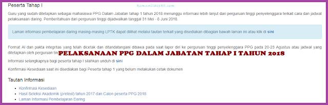 Pelaksanaan PPG Dalam Jabatan Tahap 1 Tahun 2018