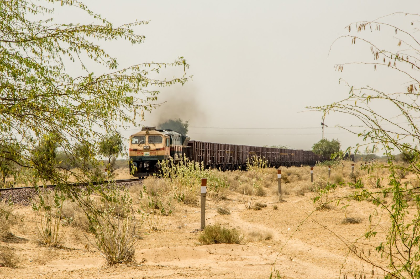 arid land and a train passing through