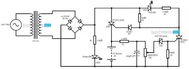 circuit schematic diagram battery charger using scr
