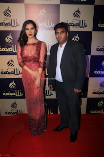 Actress Sophie Choudry in Transparent Red Dress (8).JPG