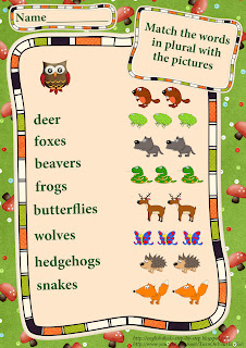 forest animals worksheet matching pictures and words in plural