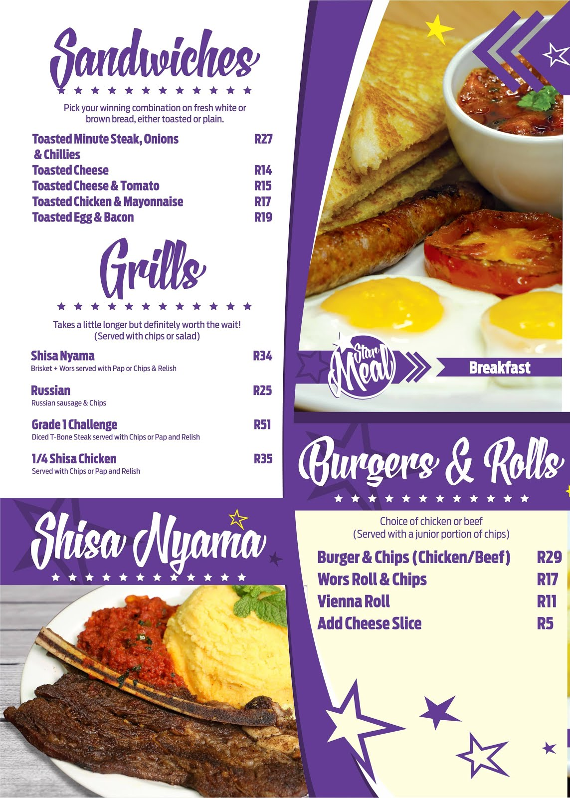 Hollywoodbets Menu - Newton Park - Sandwiches, Grills, Shisa Nyama, Burgers and Rolls