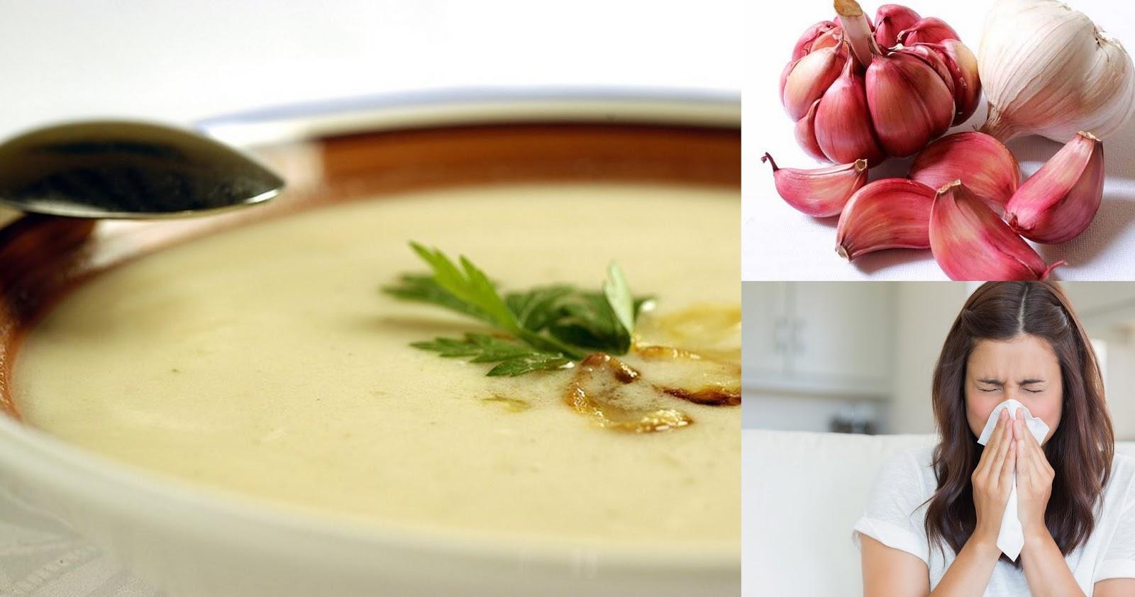 voici une recette naturelle base de soupe d 39 ail pour lutter contre la grippe le rhume et tous. Black Bedroom Furniture Sets. Home Design Ideas