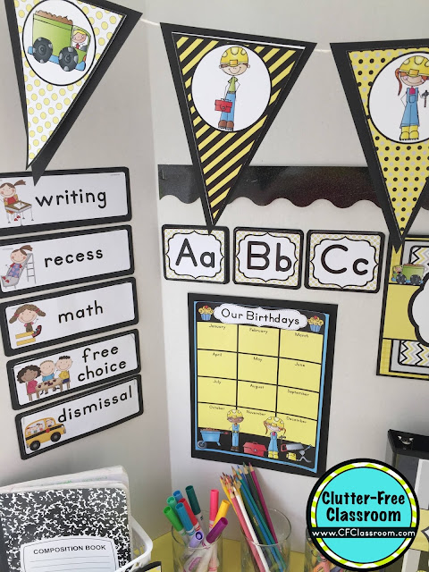 Classroom Decoration Printables Free ~ Construction themed classroom ideas printable