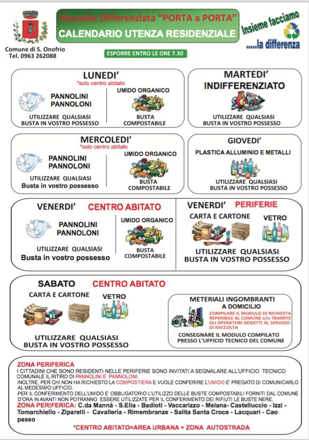 Calendario Raccolta Differenziata Sanremo.Raccolta Differenziata A Sant Onofrio Sant Onofrio Viva